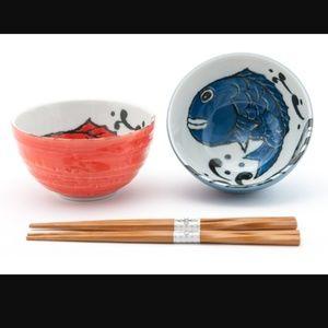 🐟2pc Japanese Bowl Set w/Chopsticks🐟